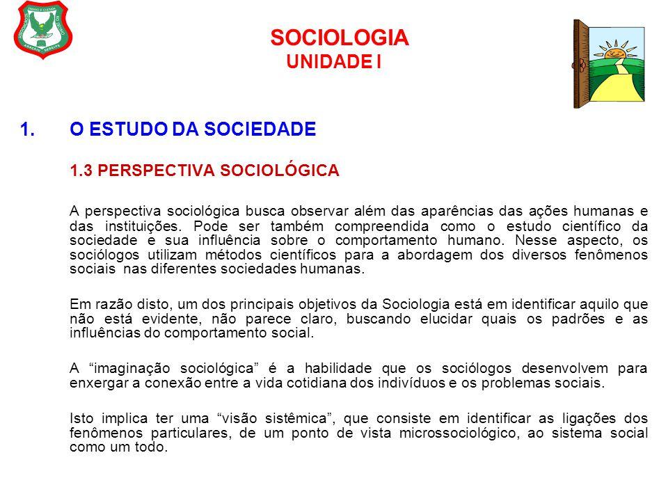 SOCIOLOGIA UNIDADE I 1.O ESTUDO DA SOCIEDADE 1.3 PERSPECTIVA SOCIOLÓGICA A perspectiva sociológica busca observar além das aparências das ações humana