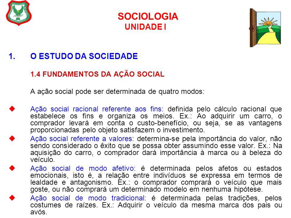 SOCIOLOGIA UNIDADE I 1.O ESTUDO DA SOCIEDADE 1.4 FUNDAMENTOS DA AÇÃO SOCIAL A ação social pode ser determinada de quatro modos:  Ação social racional
