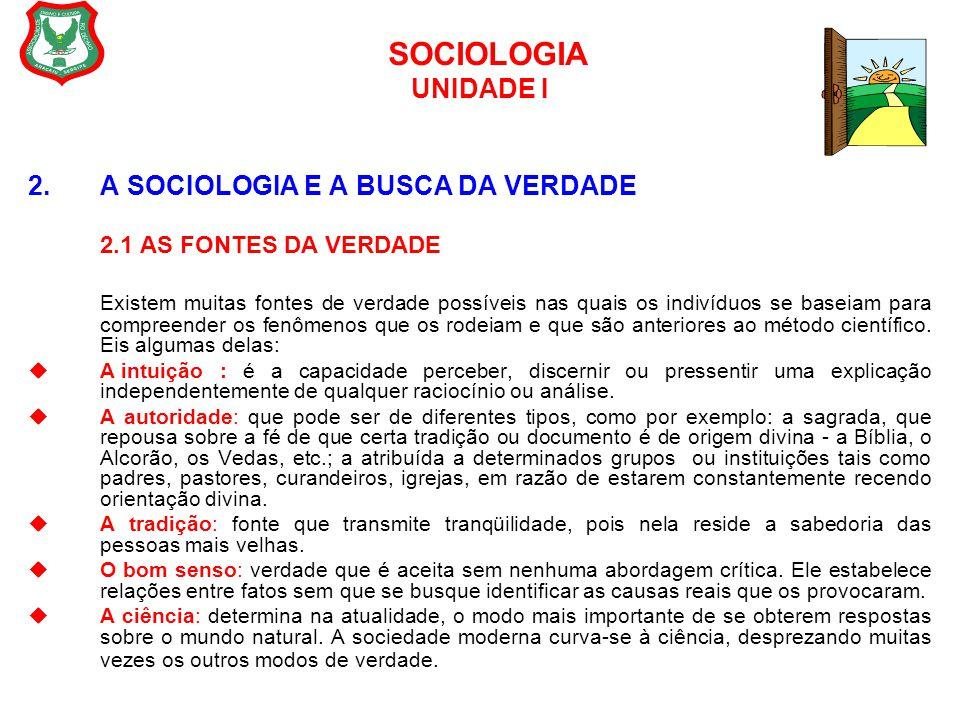 SOCIOLOGIA UNIDADE I 2. A SOCIOLOGIA E A BUSCA DA VERDADE 2.1 AS FONTES DA VERDADE Existem muitas fontes de verdade possíveis nas quais os indivíduos