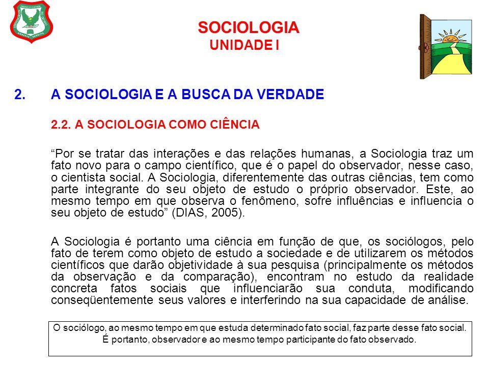 """SOCIOLOGIA UNIDADE I 2. A SOCIOLOGIA E A BUSCA DA VERDADE 2.2. A SOCIOLOGIA COMO CIÊNCIA """"Por se tratar das interações e das relações humanas, a Socio"""