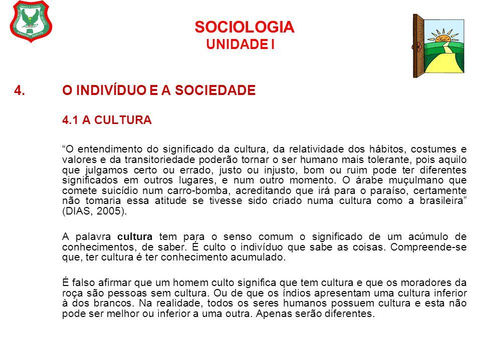 "SOCIOLOGIA UNIDADE I 4. O INDIVÍDUO E A SOCIEDADE 4.1 A CULTURA ""O entendimento do significado da cultura, da relatividade dos hábitos, costumes e val"