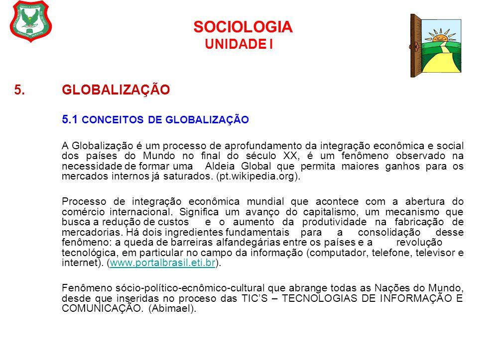 SOCIOLOGIA UNIDADE I 5.GLOBALIZAÇÃO 5.1 CONCEITOS DE GLOBALIZAÇÃO A Globalização é um processo de aprofundamento da integração econômica e social dos