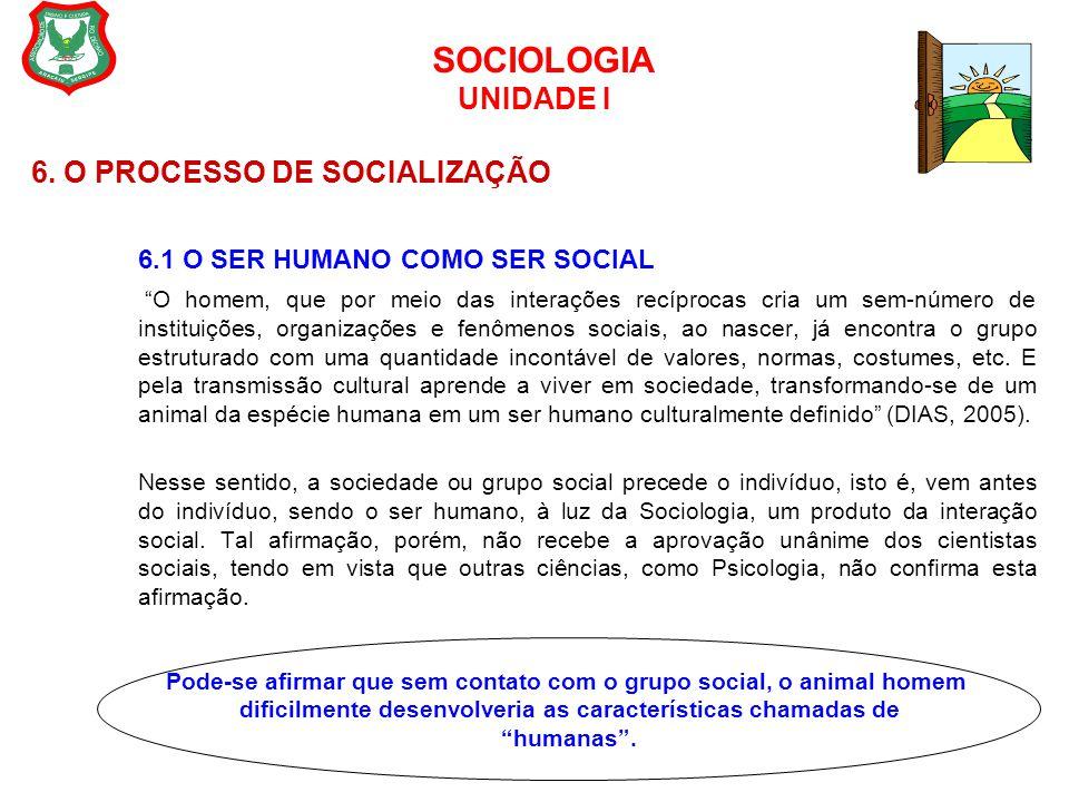 """SOCIOLOGIA UNIDADE I 6. O PROCESSO DE SOCIALIZAÇÃO 6.1 O SER HUMANO COMO SER SOCIAL """"O homem, que por meio das interações recíprocas cria um sem-númer"""