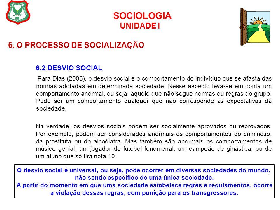 SOCIOLOGIA UNIDADE I 6. O PROCESSO DE SOCIALIZAÇÃO 6.2 DESVIO SOCIAL Para Dias (2005), o desvio social é o comportamento do indivíduo que se afasta da