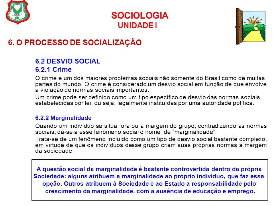 SOCIOLOGIA UNIDADE I 6. O PROCESSO DE SOCIALIZAÇÃO 6.2 DESVIO SOCIAL 6.2.1 Crime O crime é um dos maiores problemas sociais não somente do Brasil como