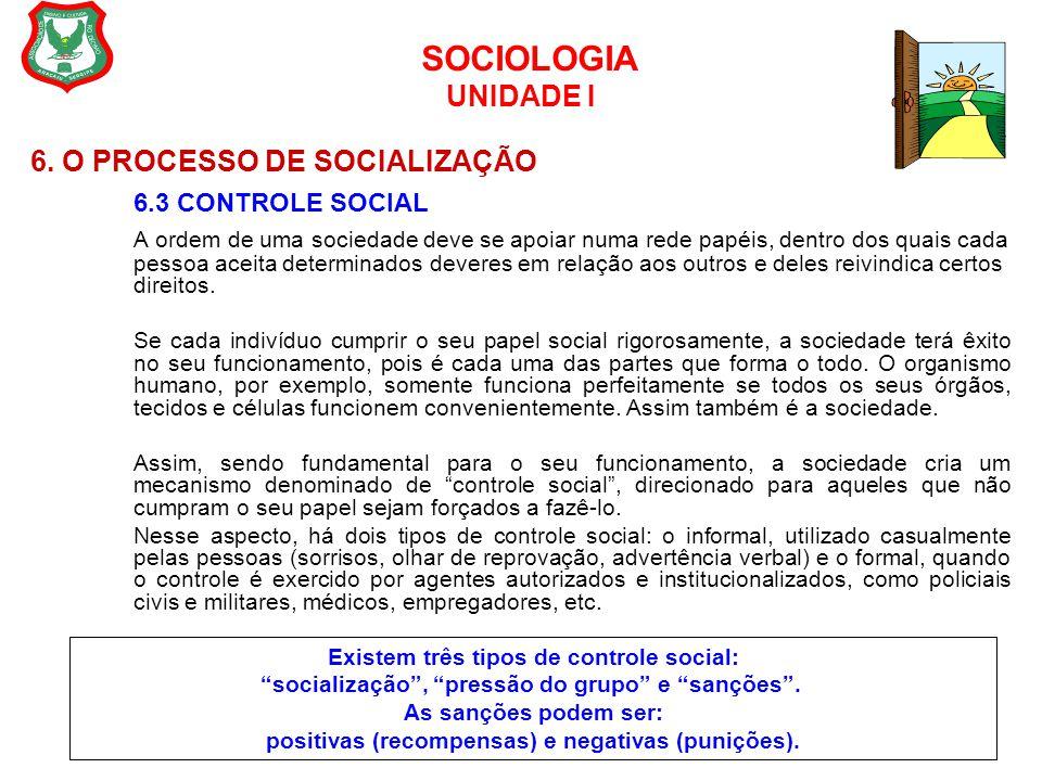 SOCIOLOGIA UNIDADE I 6. O PROCESSO DE SOCIALIZAÇÃO 6.3 CONTROLE SOCIAL A ordem de uma sociedade deve se apoiar numa rede papéis, dentro dos quais cada