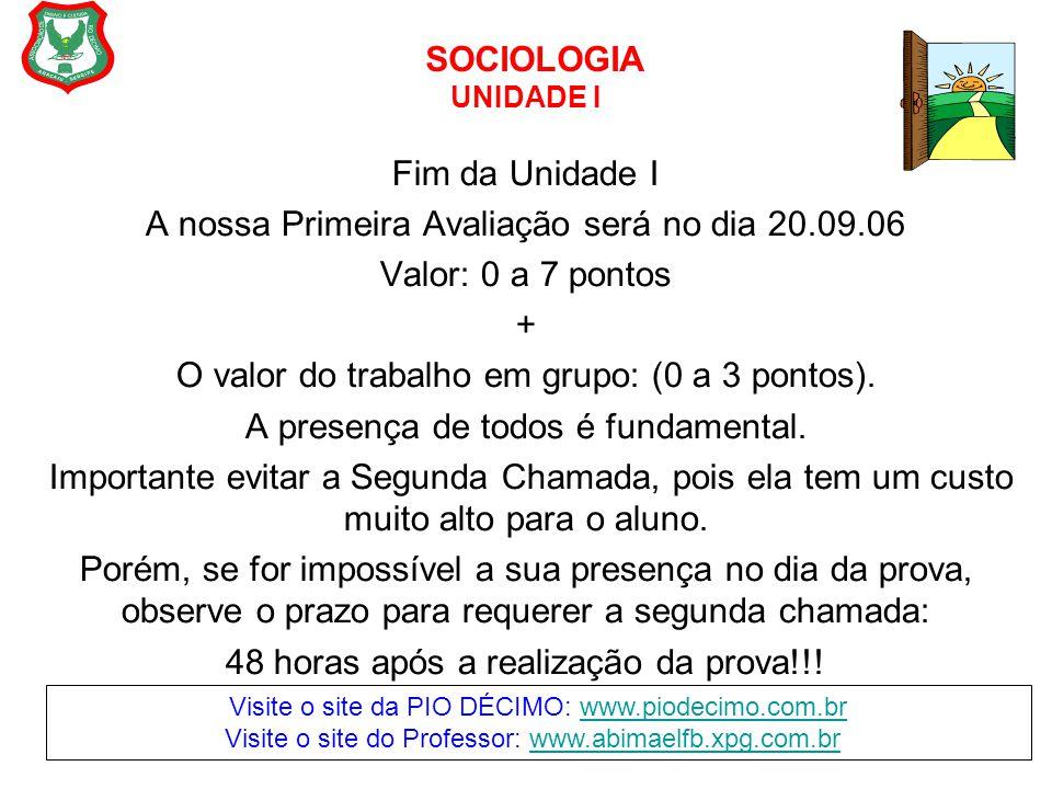 SOCIOLOGIA UNIDADE I Fim da Unidade I A nossa Primeira Avaliação será no dia 20.09.06 Valor: 0 a 7 pontos + O valor do trabalho em grupo: (0 a 3 ponto