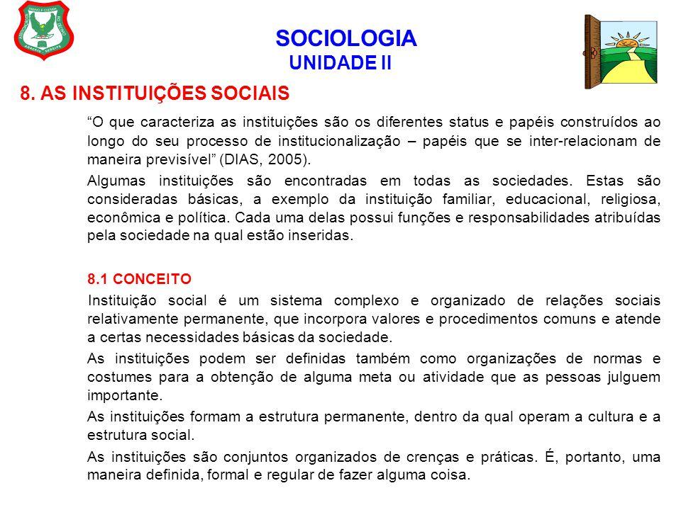 """SOCIOLOGIA UNIDADE II 8. AS INSTITUIÇÕES SOCIAIS """"O que caracteriza as instituições são os diferentes status e papéis construídos ao longo do seu proc"""