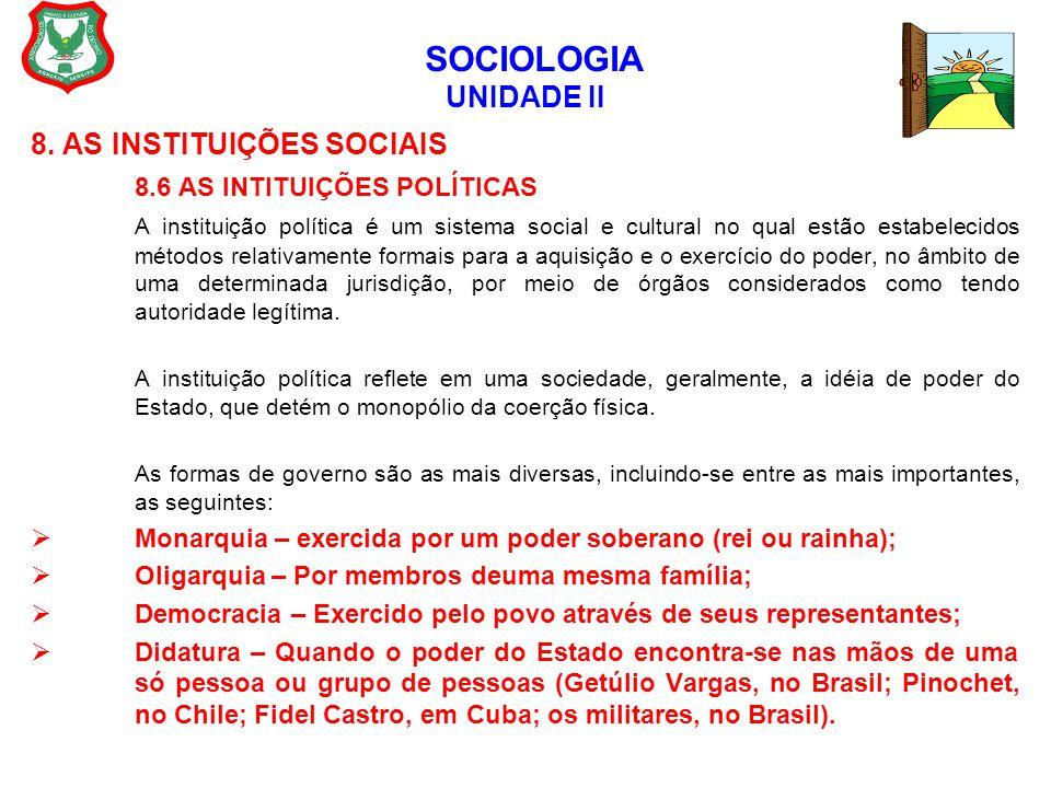 SOCIOLOGIA UNIDADE II 8. AS INSTITUIÇÕES SOCIAIS 8.6 AS INTITUIÇÕES POLÍTICAS A instituição política é um sistema social e cultural no qual estão esta