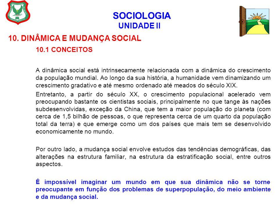 SOCIOLOGIA UNIDADE II 10. DINÂMICA E MUDANÇA SOCIAL 10.1 CONCEITOS A dinâmica social está intrinsecamente relacionada com a dinâmica do crescimento da
