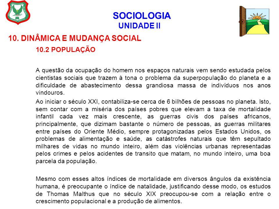 SOCIOLOGIA UNIDADE II 10. DINÂMICA E MUDANÇA SOCIAL 10.2 POPULAÇÃO A questão da ocupação do homem nos espaços naturais vem sendo estudada pelos cienti