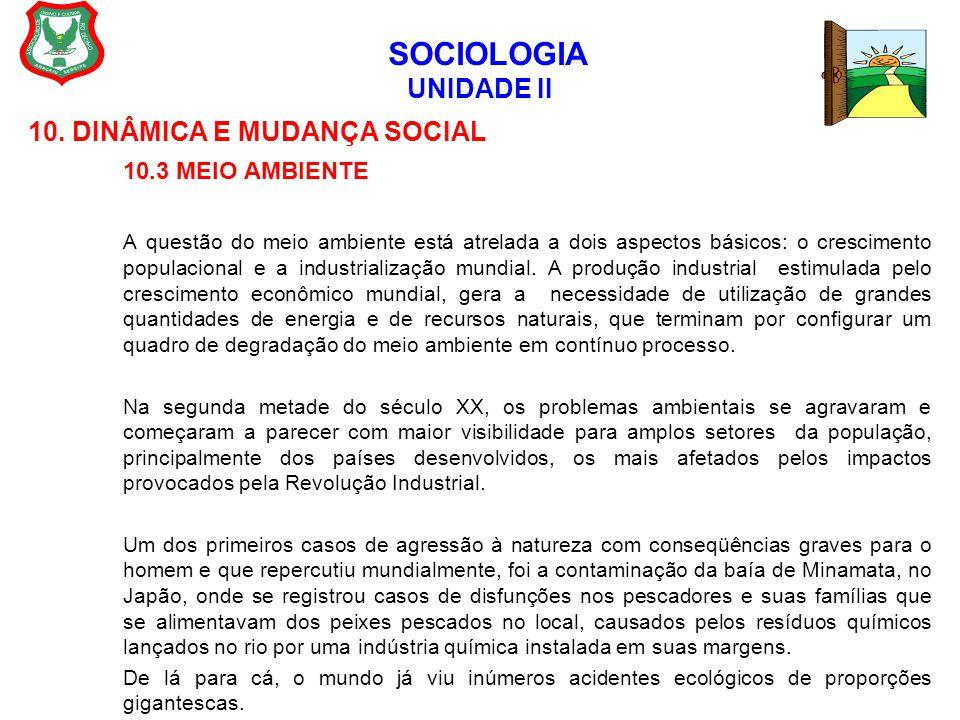 SOCIOLOGIA UNIDADE II 10. DINÂMICA E MUDANÇA SOCIAL 10.3 MEIO AMBIENTE A questão do meio ambiente está atrelada a dois aspectos básicos: o crescimento