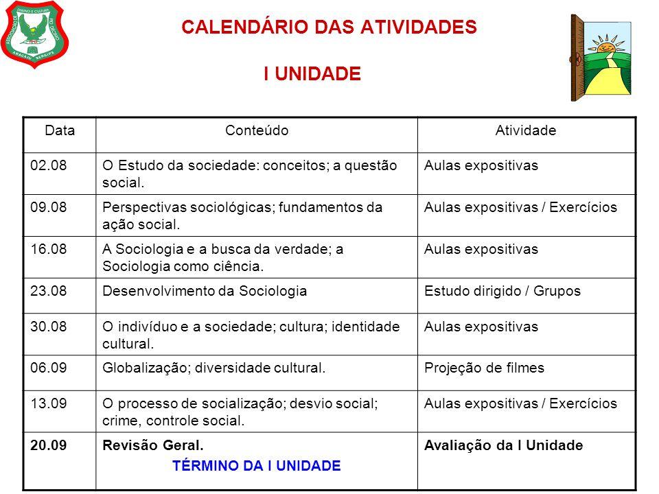CALENDÁRIO DAS ATIVIDADES II UNIDADE DataConteúdoAtividade 27.09A Desigualdade social: a desigualdade social no mundo e no Brasil.