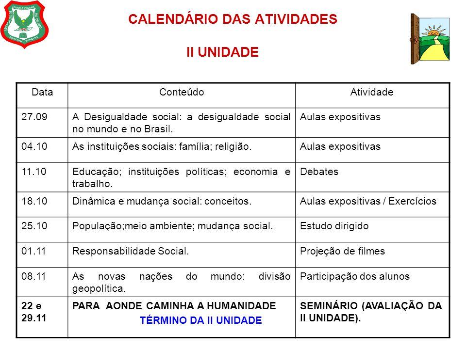 CALENDÁRIO DAS ATIVIDADES II UNIDADE DataConteúdoAtividade 27.09A Desigualdade social: a desigualdade social no mundo e no Brasil. Aulas expositivas 0