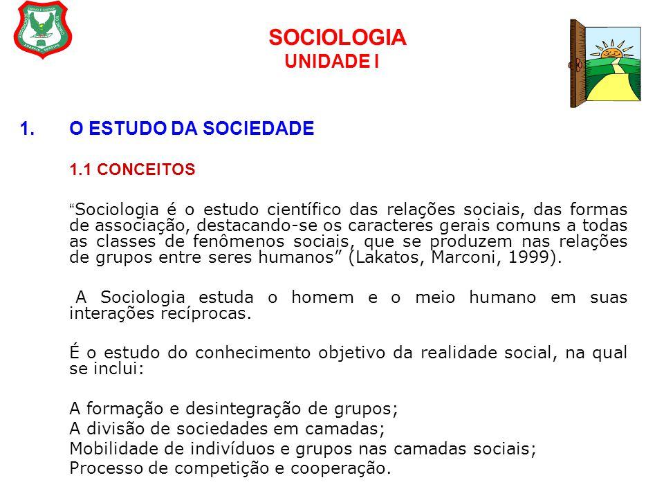 """SOCIOLOGIA UNIDADE I 1.O ESTUDO DA SOCIEDADE 1.1 CONCEITOS """" Sociologia é o estudo científico das relações sociais, das formas de associação, destacan"""