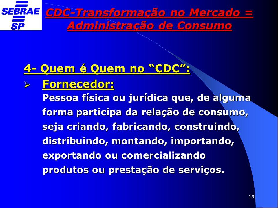 """13 CDC-Transformação no Mercado = Administração de Consumo 4- Quem é Quem no """"CDC"""":  Fornecedor: Pessoa física ou jurídica que, de alguma forma parti"""