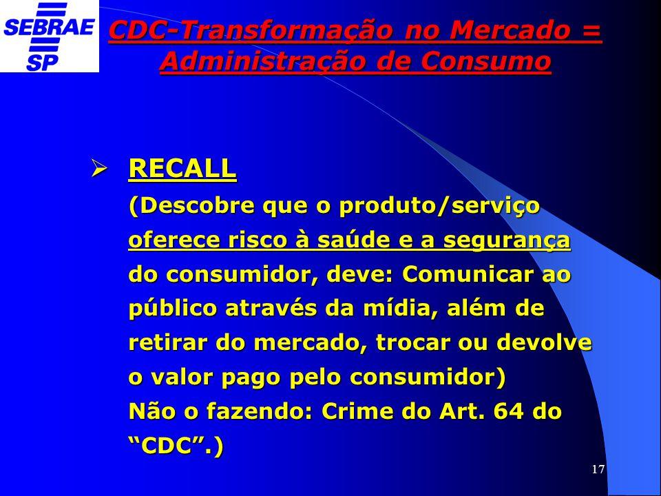 17 CDC-Transformação no Mercado = Administração de Consumo  RECALL (Descobre que o produto/serviço oferece risco à saúde e a segurança do consumidor,