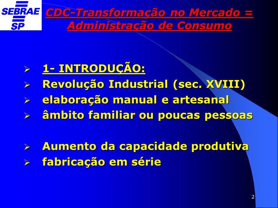 2 CDC-Transformação no Mercado = Administração de Consumo  1- INTRODUÇÃO:  Revolução Industrial (sec. XVIII)  elaboração manual e artesanal  âmbit