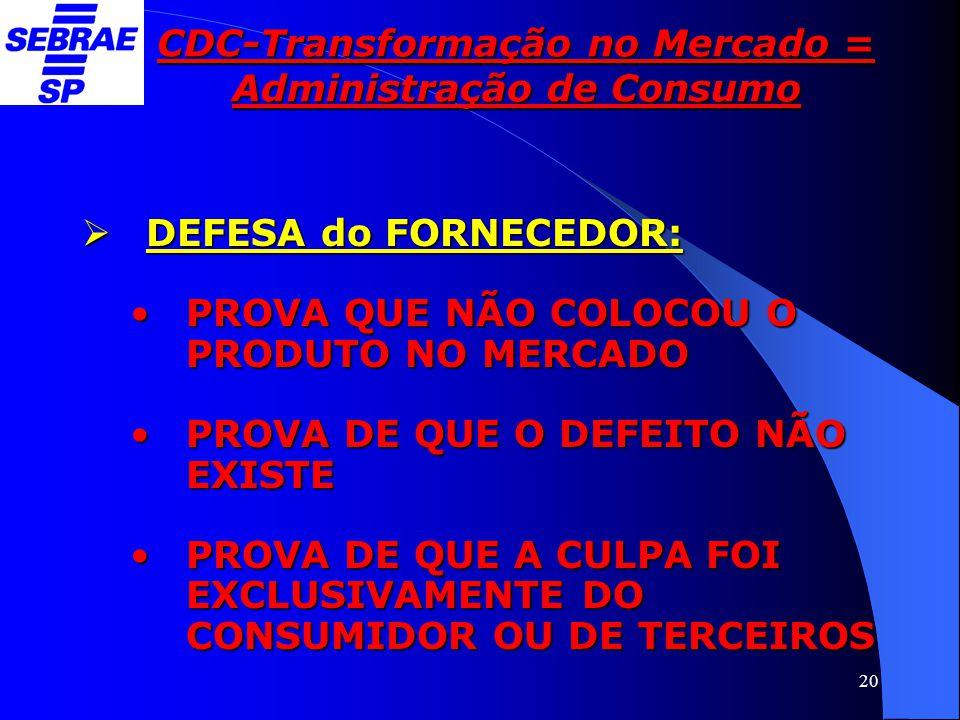20 CDC-Transformação no Mercado = Administração de Consumo  DEFESA do FORNECEDOR: •PROVA QUE NÃO COLOCOU O PRODUTO NO MERCADO •PROVA DE QUE O DEFEITO