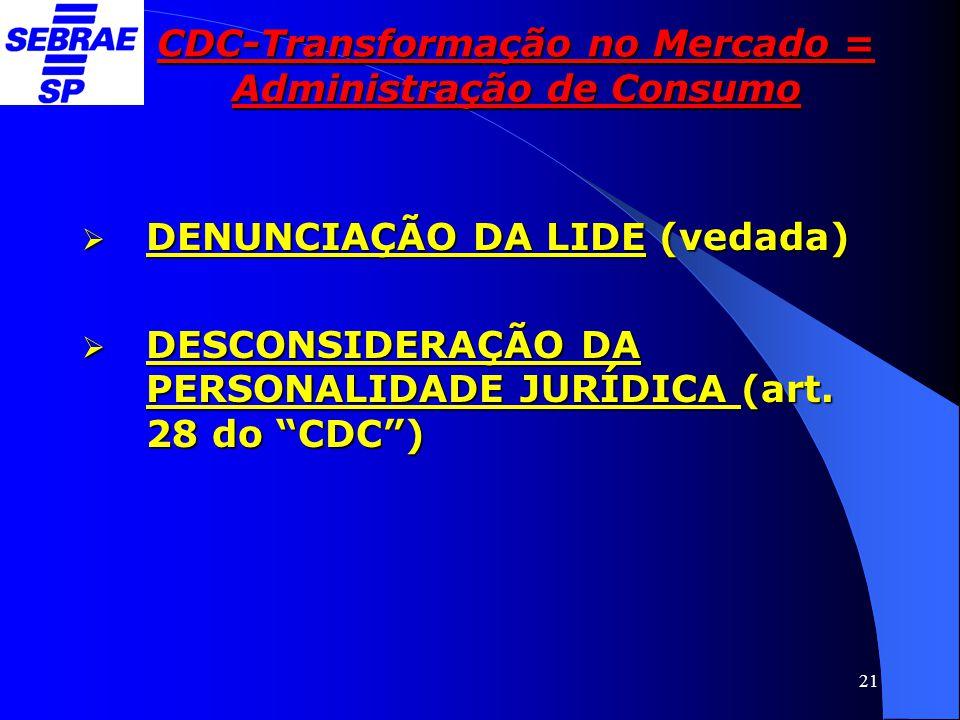 """21 CDC-Transformação no Mercado = Administração de Consumo  DENUNCIAÇÃO DA LIDE (vedada)  DESCONSIDERAÇÃO DA PERSONALIDADE JURÍDICA (art. 28 do """"CDC"""