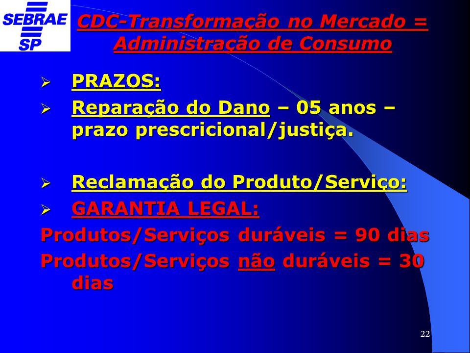 22 CDC-Transformação no Mercado = Administração de Consumo  PRAZOS:  Reparação do Dano – 05 anos – prazo prescricional/justiça.  Reclamação do Prod