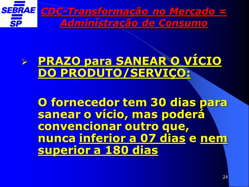 24 CDC-Transformação no Mercado = Administração de Consumo  PRAZO para SANEAR O VÍCIO DO PRODUTO/SERVIÇO: O fornecedor tem 30 dias para sanear o víci