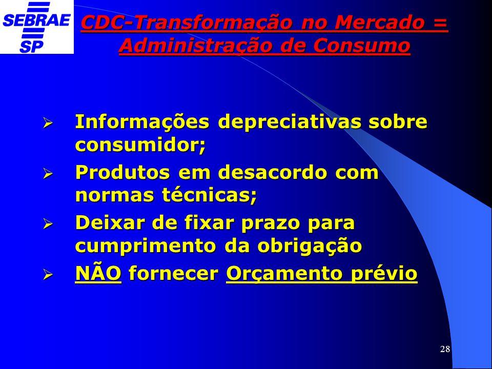 28 CDC-Transformação no Mercado = Administração de Consumo  Informações depreciativas sobre consumidor;  Produtos em desacordo com normas técnicas;