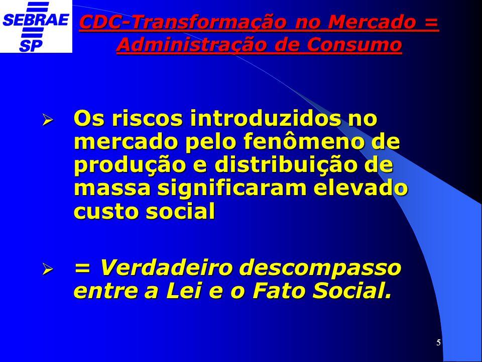 5 CDC-Transformação no Mercado = Administração de Consumo  Os riscos introduzidos no mercado pelo fenômeno de produção e distribuição de massa signif