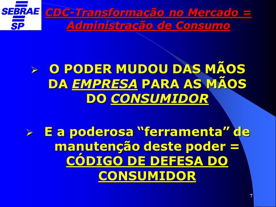 8 CDC-Transformação no Mercado = Administração de Consumo 2- UNIVERSO DE CONSUMO:  62 milhões de consumidores  Mercosul – 36 milhões  11 – 01 tem carro (EUA: 04-3 tem)  115 milhões eleitores  70 milhões – não têm 1.º grau  1% (dos 115) chegam as universidades