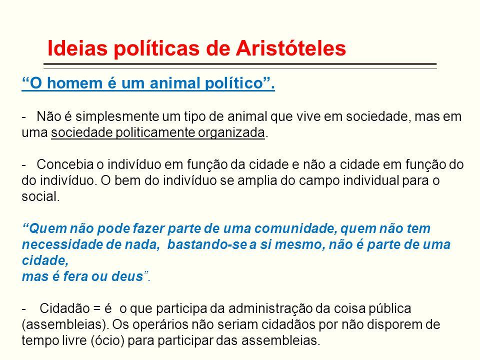 """Ideias políticas de Aristóteles """"O homem é um animal político"""". -Não é simplesmente um tipo de animal que vive em sociedade, mas em uma sociedade poli"""