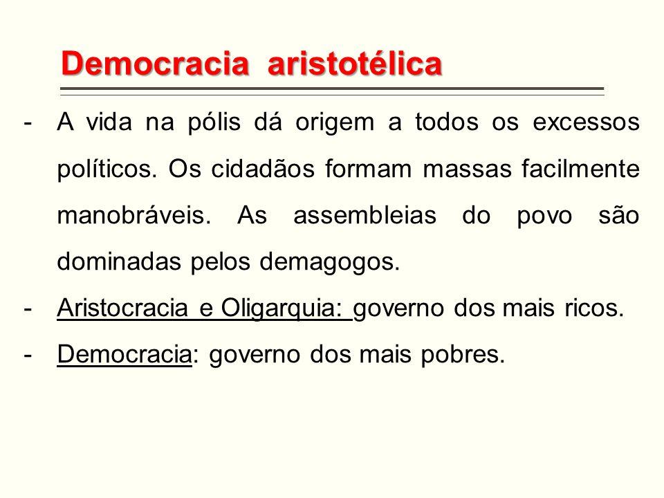 Democracia aristotélica -A vida na pólis dá origem a todos os excessos políticos. Os cidadãos formam massas facilmente manobráveis. As assembleias do