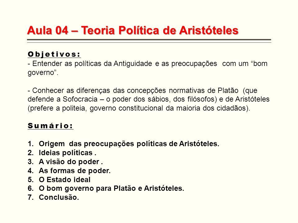 """Aula 04 – Teoria Política de Aristóteles Objetivos: - Entender as políticas da Antiguidade e as preocupações com um """"bom governo"""". - Conhecer as difer"""
