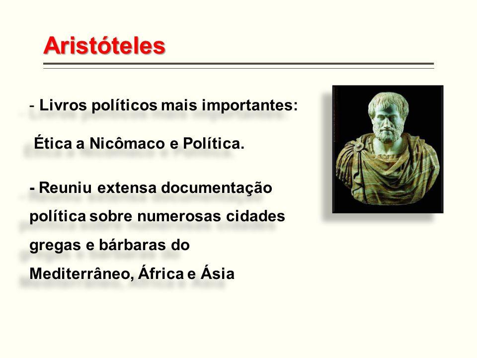 Aristóteles - Livros políticos mais importantes: Ética a Nicômaco e Política. - Reuniu extensa documentação política sobre numerosas cidades gregas e