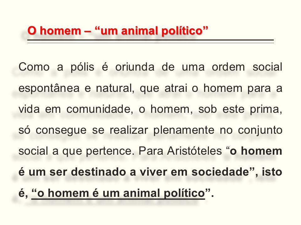 """O homem – """"um animal político"""" Como a pólis é oriunda de uma ordem social espontânea e natural, que atrai o homem para a vida em comunidade, o homem,"""