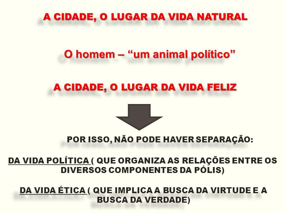 """A CIDADE, O LUGAR DA VIDA FELIZ O homem – """"um animal político"""" A CIDADE, O LUGAR DA VIDA NATURAL POR ISSO, NÃO PODE HAVER SEPARAÇÃO: DA VIDA POLÍTICA"""