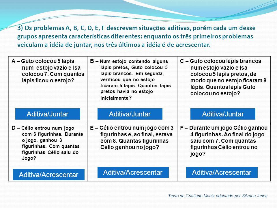 3) Os problemas A, B, C, D, E, F descrevem situações aditivas, porém cada um desse grupos apresenta características diferentes: enquanto os três prime