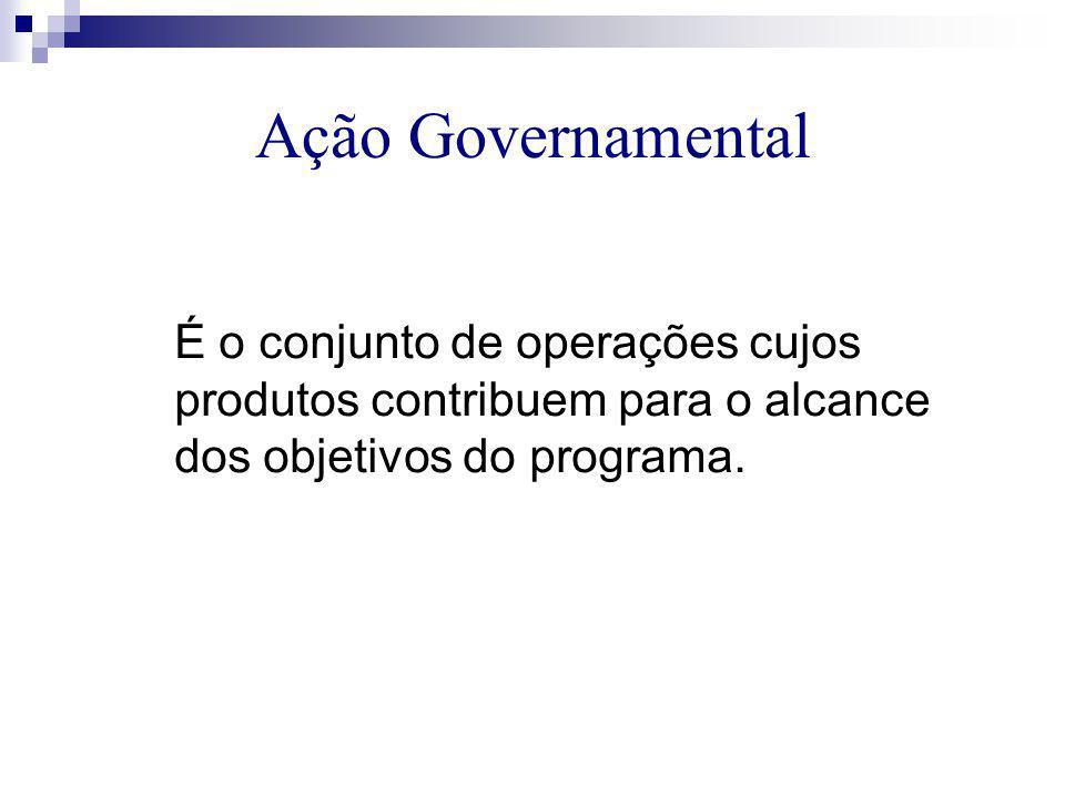 Ação Governamental É o conjunto de operações cujos produtos contribuem para o alcance dos objetivos do programa.