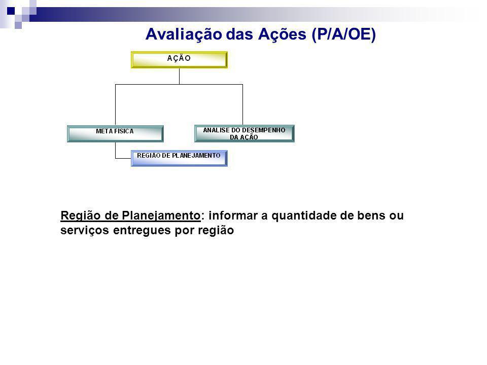 Avaliação das Ações (P/A/OE) Região de Planejamento: informar a quantidade de bens ou serviços entregues por região