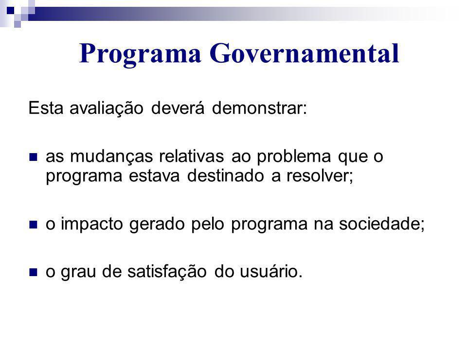 Esta avaliação deverá demonstrar:  as mudanças relativas ao problema que o programa estava destinado a resolver;  o impacto gerado pelo programa na