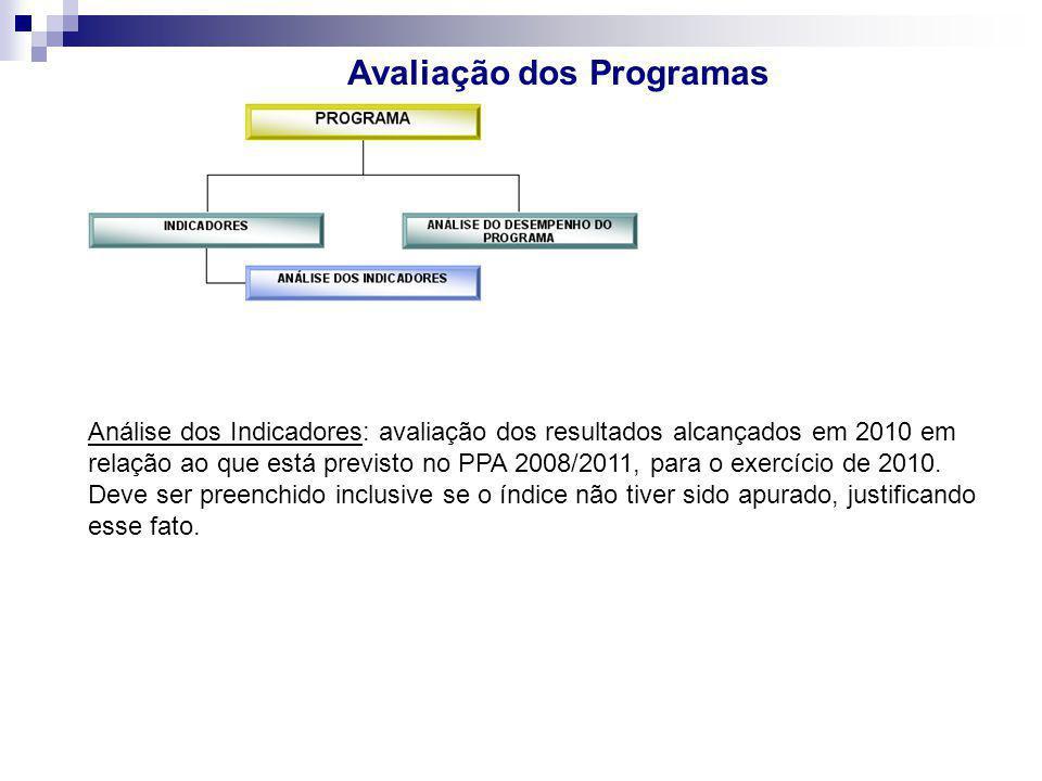 Avaliação dos Programas Análise dos Indicadores: avaliação dos resultados alcançados em 2010 em relação ao que está previsto no PPA 2008/2011, para o