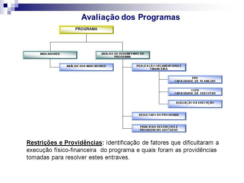 Avaliação dos Programas Restrições e Providências: Identificação de fatores que dificultaram a execução físico-financeira do programa e quais foram as