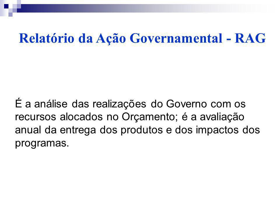 Relatório da Ação Governamental - RAG É a análise das realizações do Governo com os recursos alocados no Orçamento; é a avaliação anual da entrega dos