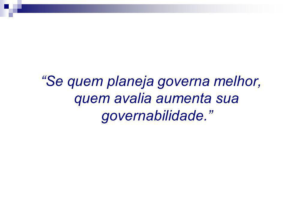 """""""Se quem planeja governa melhor, quem avalia aumenta sua governabilidade."""""""