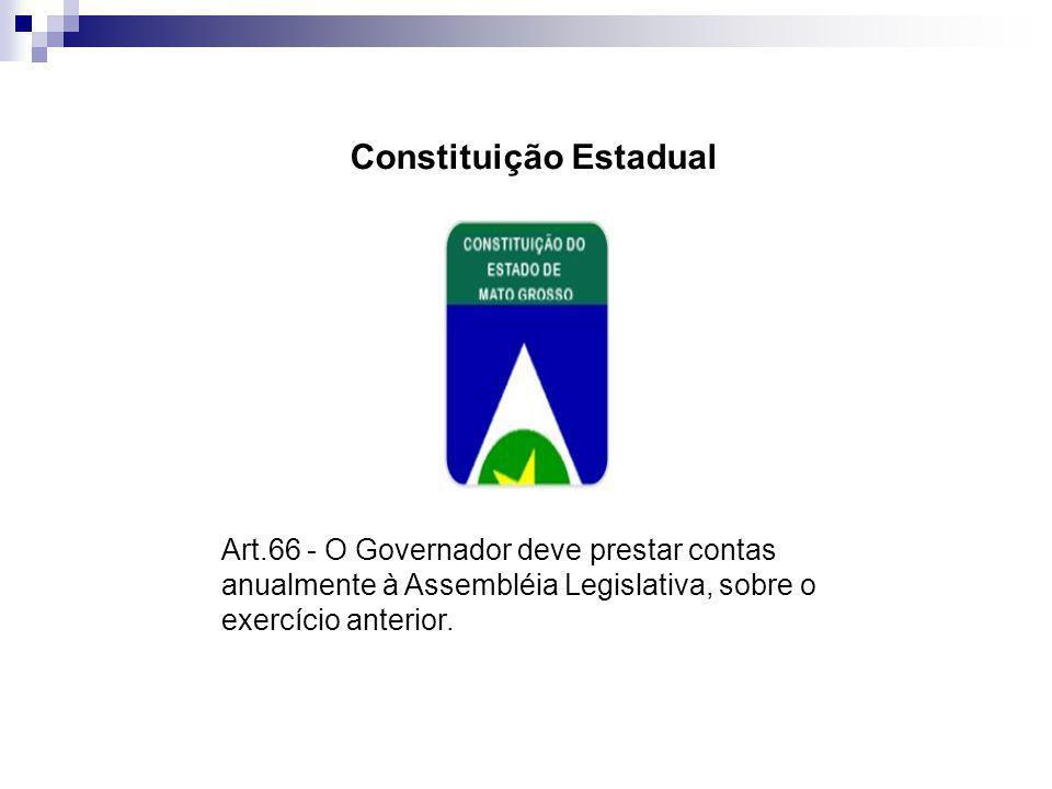 Constituição Estadual Art.66 - O Governador deve prestar contas anualmente à Assembléia Legislativa, sobre o exercício anterior.
