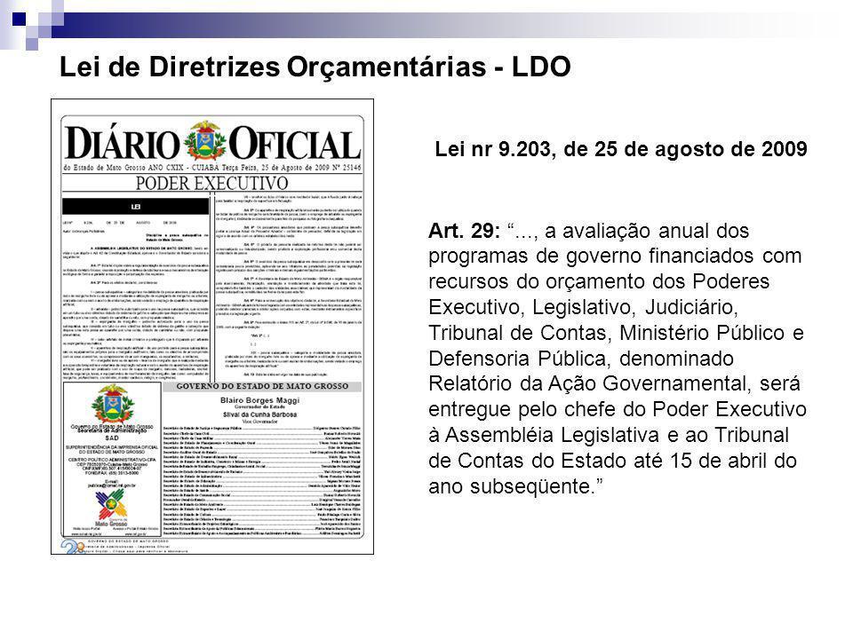 """Lei nr 9.203, de 25 de agosto de 2009 Art. 29: """"..., a avaliação anual dos programas de governo financiados com recursos do orçamento dos Poderes Exec"""