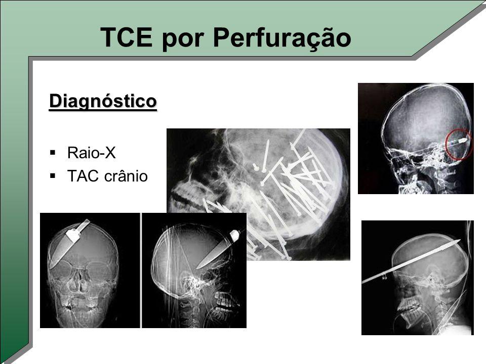 TCE por Perfuração Diagnóstico  Raio-X  TAC crânio