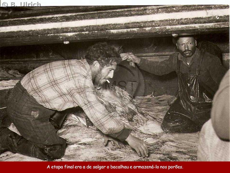 Quando a captura era suficientemente grande, os pescadores ajudavam a tripulação que ficara a bordo a preparar o peixe, antes de jantarem e irem para as camas beliches.