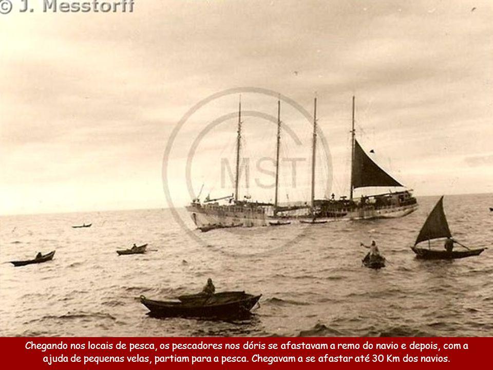 Cada navio levava entre 40 a 60 barquinhos de 5 metros, chamados Dóris.