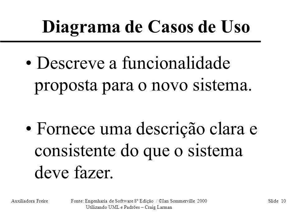 Auxiliadora Freire Fonte: Engenharia de Software 8º Edição / ©Ian Sommerville 2000 Slide 10 Utilizando UML e Padrões – Craig Larman • Descreve a funci