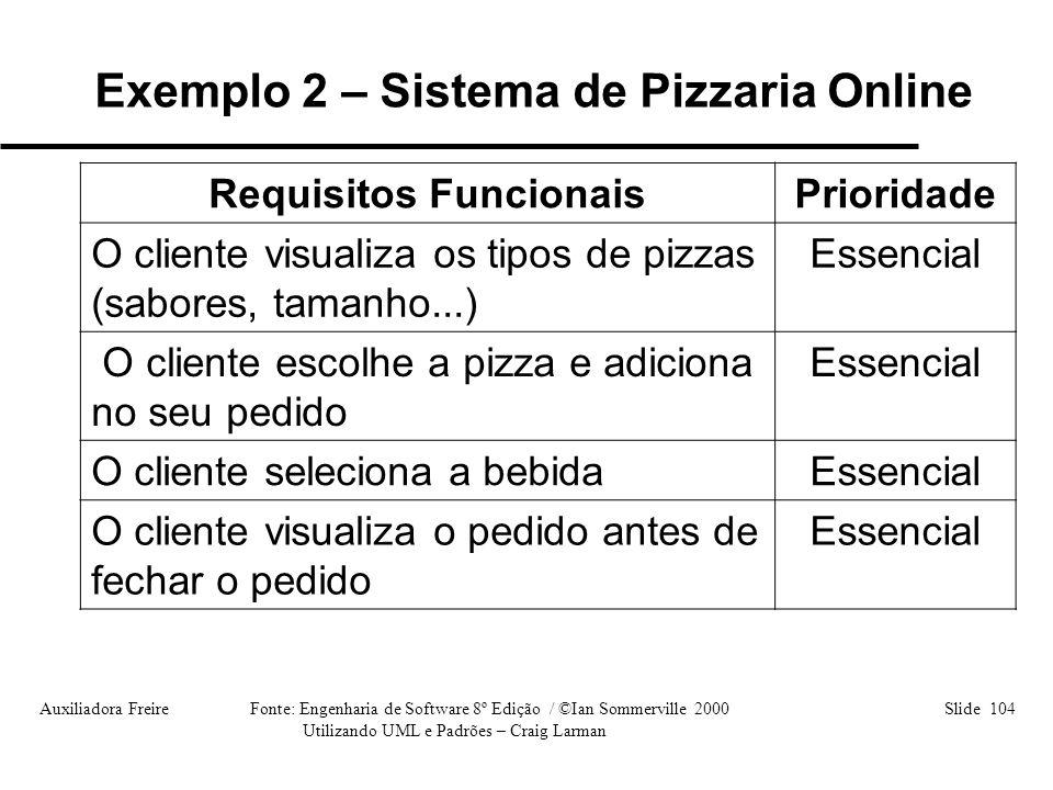 Auxiliadora Freire Fonte: Engenharia de Software 8º Edição / ©Ian Sommerville 2000 Slide 104 Utilizando UML e Padrões – Craig Larman Requisitos Funcio